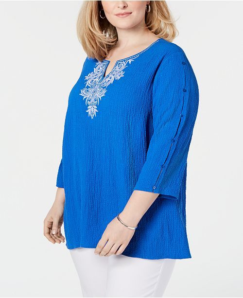 797628dbab Alfred Dunner Plus Size Waikiki 3 4-Sleeve Top   Reviews - Tops ...