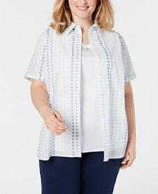 Alfred Dunner Plus Size Monterey Cotton Layered Top