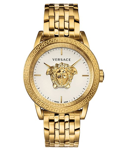 Versace Men's Swiss Palazzo Empire Gold-Tone Stainless Steel Bracelet Watch 43mm