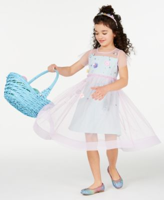 Little Girls Pleated Two-Tone Mesh Dress