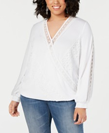 I.N.C. Plus Size Crochet-Lace Surplice Top, Created for Macy's