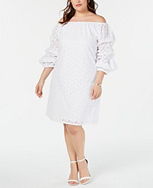 Plus Size Off-The-Shoulder Eyelet Dress