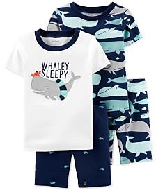 Carter's Toddler Boys 4-Pc. Cotton Whaley Sleepy Pajamas Set