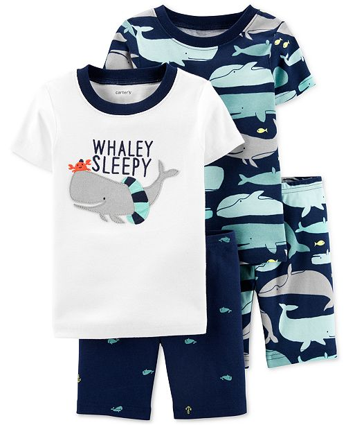 Carter's Toddler Boys 4-Pc. Cotton Whaley Sleepy Pajamas Set