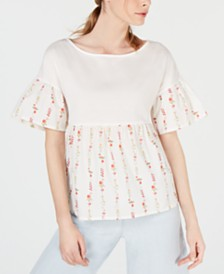 Weekend Max Mara Hobby Cotton Solid & Printed Top