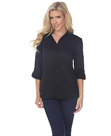 White Mark Women's Skylar Stretchy Button-Down Top