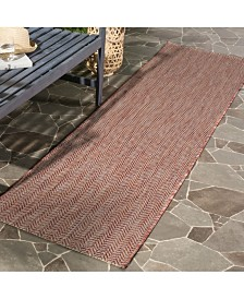 "Safavieh Courtyard Red and Beige 2'3"" x 12' Runner Area Rug"