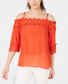BCX Off-The-Shoulder Crochet-Trim Top