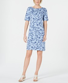 Karen Scott Printed Boat-Neck T-Shirt Dress, Created for Macy's