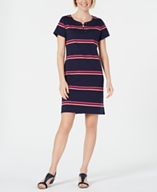 Karen Scott Petite Split-Neck Striped Dress, Created for Macy's