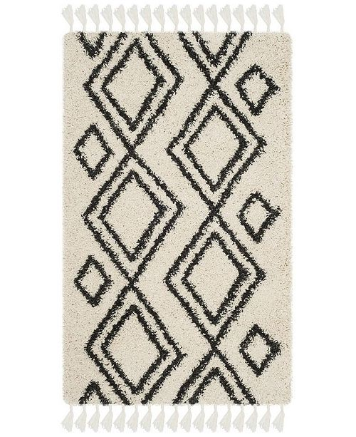 Safavieh Moroccan Fringe Shag Cream and Charcoal 3' X 5' Area Rug