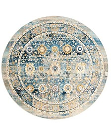 """Claremont Blue and Gold 6'7"""" x 6'7"""" Round Area Rug"""