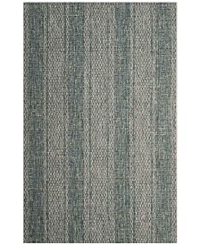 "Safavieh Courtyard Light Gray and Teal 6'7"" x 6'7"" Sisal Weave Square Area Rug"