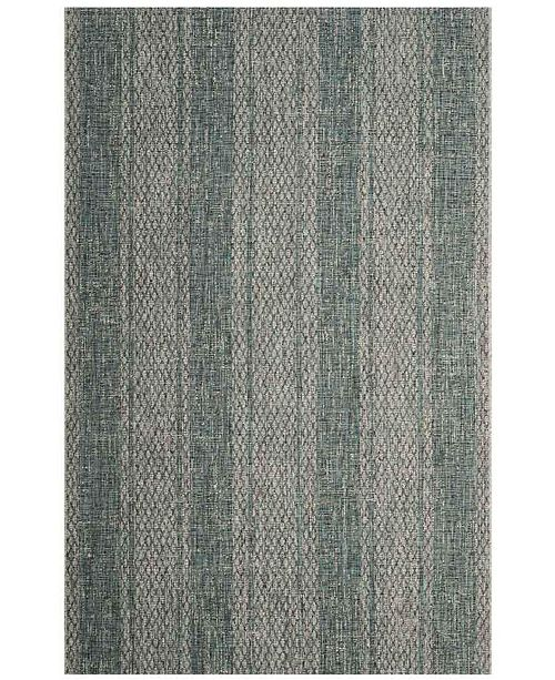 """Safavieh Courtyard Light Gray and Teal 6'7"""" x 6'7"""" Sisal Weave Square Area Rug"""