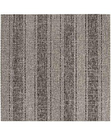 "Safavieh Courtyard Light Gray and Black 6'7"" x 6'7"" Sisal Weave Square Area Rug"
