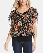 b22eab44 Karen Kane Floral-Print Flutter-Sleeve Top