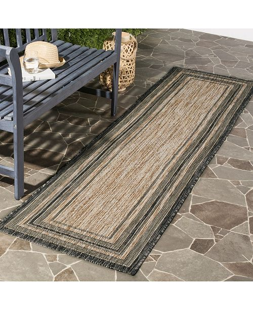 "Safavieh Courtyard Natural and Black 2'3"" x 10' Sisal Weave Runner Area Rug"