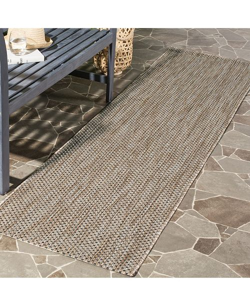 "Safavieh Courtyard Natural and Black 2'3"" x 14' Sisal Weave Runner Area Rug"