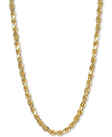 "Italian Gold 22"" Rope Chain Necklace in 14k Gold"