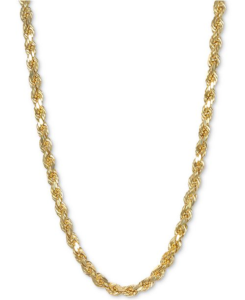 """Italian Gold 24"""" Rope Chain Necklace in 14k Gold"""