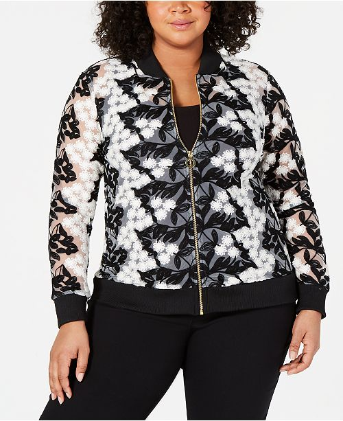 Belldini Plus Size Crochet-Lace Bomber Jacket