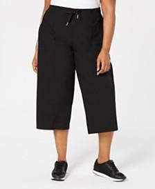 Calvin Klein Performance Plus Size Cropped Wide-Leg Pants