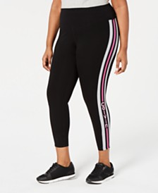 Calvin Klein Performance Plus Size Logo-Stripe Ankle Leggings