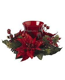 Poinsettia and Berry Candelabrum