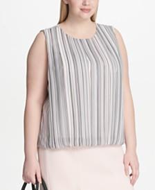 Calvin Klein Plus Size Pleated Chiffon Bubble Top