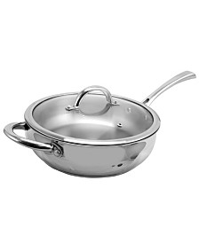 """Oster Cuisine Derrick 10"""" Stainless Steel Sauteacute Pan with Lid"""