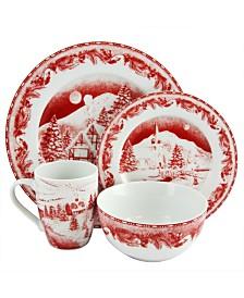 Winter Cottage 16 Piece Decorated Dinnerware Set