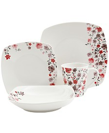 Rosetta Floral 16 Piece Dinnerware Set, Soft Square