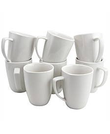 Zen Buffetware 12 Ounce Square Ceramic Mug Set, Set of 8
