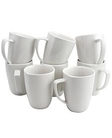Zen Buffetware 12 Ounce Square Ceramic Mug Set, Set of 8