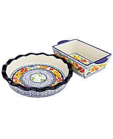 "Luxembourg 10.5"" Pie Dish and 10"" Bakeware Set in Stoneware"