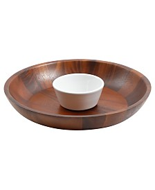 Fruitwood 2 Piece Chip and Dip with Ceramic Bowl Set