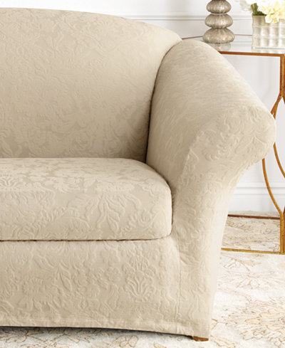 Sure Fit Stretch Sofa Jacquard Damask 2-Piece Sofa Slipcover