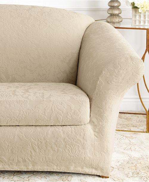 Sure Fit Stretch Sofa Jacquard Damask 2-Piece Sofa Slipcover ...