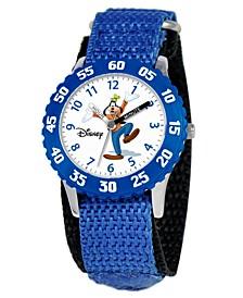 Kid's Goofy Time Teacher Blue Fabric Strap Watch 31mm W000148