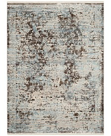 Vintage Persian Brown and Light Blue 4' x 6' Area Rug