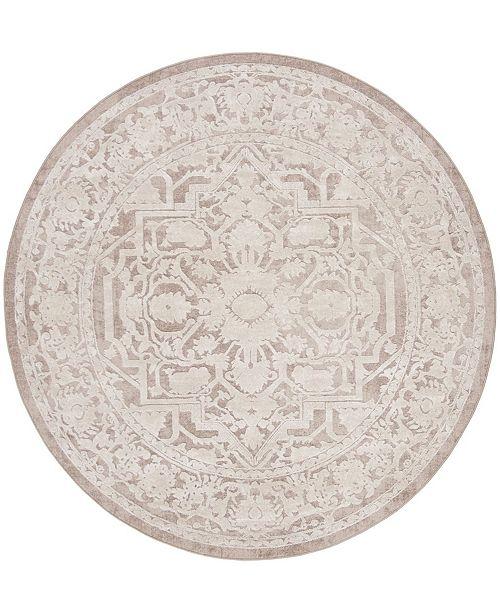 "Safavieh Reflection Beige and Cream 6'7"" x 6'7"" Round Area Rug"