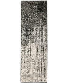 "Retro Black and Light Grey 2'3"" x 7' Runner Area Rug"