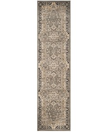 """Vintage Taupe and Black 2'2"""" x 8' Runner Area Rug"""