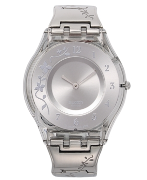 Swatch Watch, Women's Swiss Climber Flowery Flower Engraved Stainless Steel Bracelet 34mm SFK300G