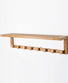 ARB Teak Wall Shelf with 8 Hooks