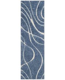 "Shag Light Blue and Cream 2'3"" x 7' Runner Area Rug"