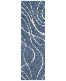 "Safavieh Shag Light Blue and Cream 2'3"" x 7' Runner Area Rug"