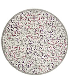 """Skyler Ivory and Pink 6'7"""" x 6'7"""" Round Area Rug"""