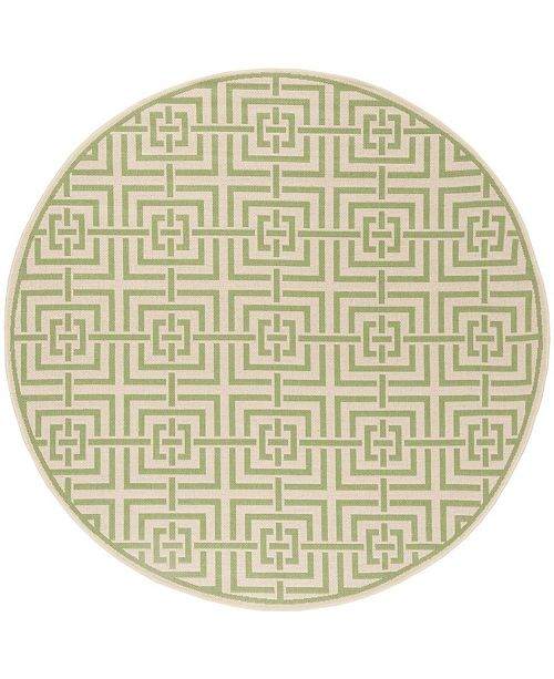 "Safavieh Linden Cream and Olive 6'7"" x 6'7"" Round Area Rug"