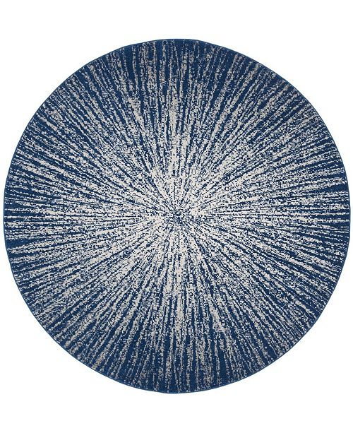 "Safavieh Evoke Navy and Ivory 6'7"" x 6'7"" Round Area Rug"